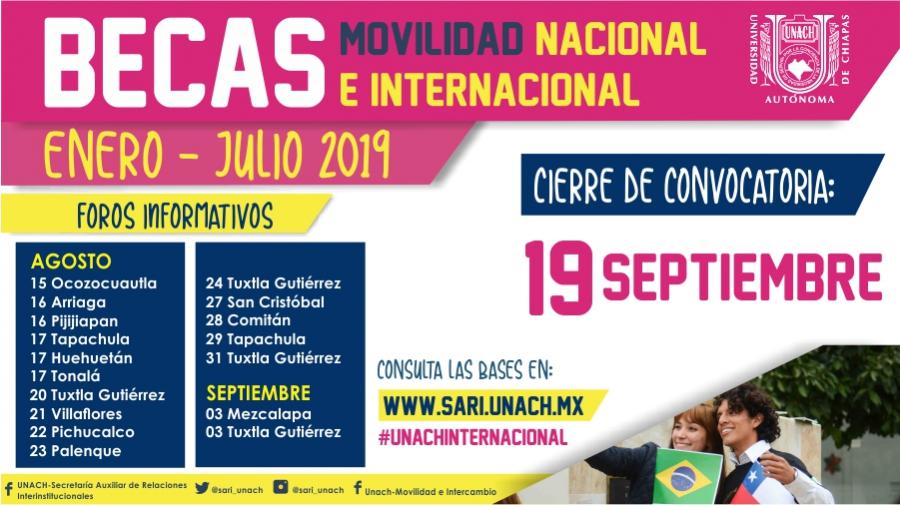 CONVOCATORIA MOVILIDAD NACIONAL E INTERNACIONAL ENERO JULIO 2019